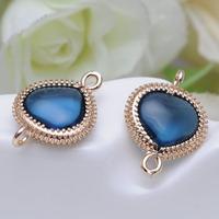 Newest Heart Shape Navy Blue Connected Zircon Glass Bracelet /Pendant Women Gold Plated Bamoer Jewelry P9143
