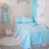 DJ 2015 new healthy blue cotton bedding set  fantasy wedding bedding quilted duvet cover lace yarn bedskirt children Christmas