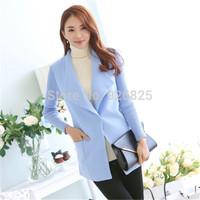 New 2014 Hot Europe Women Coat Slim Wool Turn Down Collar Single Button Long Sleeve Pocket Fashion High Quanlity Elegant Cloth