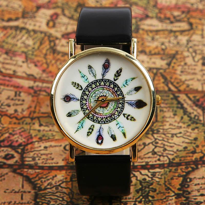 Free Shipping rendy Women Dress Watch Quartz Watches Faux Leather Feather Geneva Watch L05609