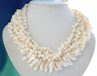 5strands 25mm white biwa / rice freshwater cultured pearl necklace 17inch