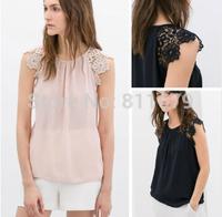 Blusas Femininas 2015 Women Tops Short Sleeve O-Neck Plus Size Lace Flower Chiffon Blouses Shirts