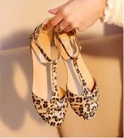2015 Leopard print horsehair cutout t flat sandals gentlewomen princess flat heel single shoes summer new arrival