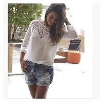 Women White Crochet Lace Shirt Female Croche Long Sleeve Chiffon Blouse Lace Blusas Plus Size S-XL