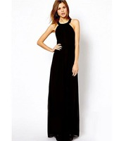 Real Prictures Ready To Ship Women Party Dresses Scoop Open Back Floor-Length Chiffon Prom Dresses TB-22