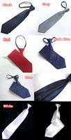 """10x Man Mens 19"""" 48cm Pretied Zip Up Zipper Necktie Neck Ties Red White Blue LOT"""