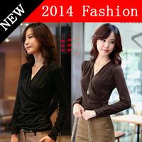 xxxl plus size women clothing Autumn women tops fashion 2014 camisetas femininas sexy t -shirt  long sleeve t shirt 1218H