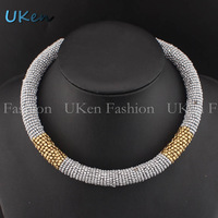 New Statement Women Dress Ornament Fashion Choker Jewelry Hand Made Beaded Spring Shape Torque Necklace N2545
