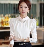 Blusas Femininas 2015 Women Tops Long Sleeve Turtleneck Plus Size Solid Slim Blouses Shirts