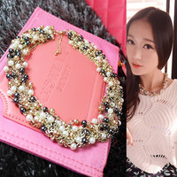 Fashionable Luxury Vintage Style Jewellery Multi Layer String Twist Faux Pearl Choker Necklaces&Pendants Free Shipping