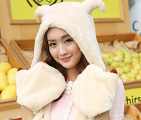 1 piece 2014 winter  fashion top salling Lovely Cartoon sheep design Hat Warm Animal Cap Hat with Scarf Gloves
