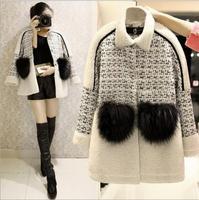 2014 Winter womens brand sweet fur pocket long jacket fashion Women plus size patchwork lamb wool warm coat Free Shipping WXT331
