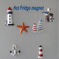 New resin decorative refrigerator marine life buoy lighthouse watchtower, stylish Mediterranean style tile, Fridge magnet, 12pcs