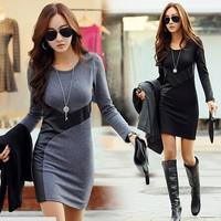 PLUS M-XXL 2014 Autumn Winter Women warm Cotton fashion brand Dress Evening Clothes Party Long Sleeve Casual Dress women SY2766