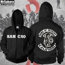2014 New Sons of Anarchy SOA Grim Reaper Samcro Motorcycle Club Zip Up Hoodie Jacket Hooded Sweatshirt Jacket Adult Mens(China (Mainland))