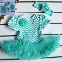 3Pic Newborn girls summer Bodysuitsdress baby tutu dress+Headband+Shoes Party Princess clothes Sets 0-12M Rompers roupas de bebe