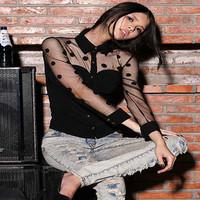 New Womens Summer Mesh Retro Polka Dot Gauze Patchwork Slim Long Sleeve Blouse