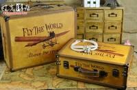 Fashion vintage suitcase old fashioned suitcase wooden storage props box decoration freeshipping