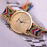 Fashion Weave Women's Geneva Watches Hand Woven New Pull Rope Bracelet Quartz Wristwatch
