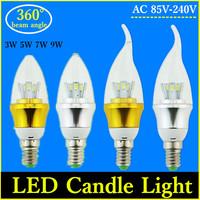 2015 The Latest Home Use Energy Saving LED Lamp 3W 5W 7W 9W E14/E27 AC 85V-240V White/Warm White SMD 5730 Candle Bulb Light