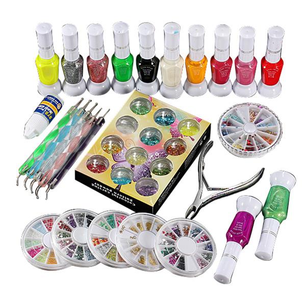 New Nail Art Dotting Decorating Sets Kits Polish Glue Gel Glitter Rhinestones Clipper Pen Manicure Nails Tools(China (Mainland))
