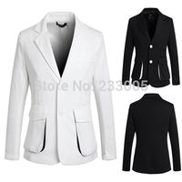 New Fashion Stylish 2014 Pocket Designs Men Blazer Slim Fit Casual Classic Solid Color Blazers Men Suit Jacket Black/White M-XXL