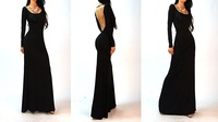 Ready To Ship In Stock Black Party Dresses Long Sleeve Open Back A-Line Chiffon Women Prom Dresses TB-30