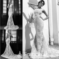 Romantic Bride Dress Handmade Trumpet Boat Neck Cap Sleeve Sweep Train Vintage Style Lace Wedding Dresses SG029