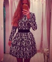 2015 new European explosion models black long-sleeved waist dress printing