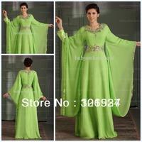 New Arrival 2014 Hot Design Cheap Arabic V Neck Dubai ABAYA KAFTAN Evening Dress Green Long Sleeve With Beaded Prom Dress B00479
