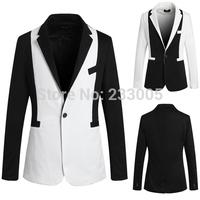 Hot ! 2014 British Style Cheap Mens Blazers High Quality Patchwork Designs Slim Fit Suits For Men Suit Jacket Men Blazer M-XXL