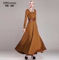 2015 New arrival elegant long dress women's square collar patchwork slim basic dress plus size floor length dress