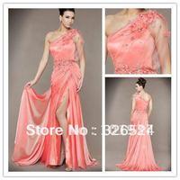 Custom made One-Shoulder Ruffle Beading Hand Made Flower A-Line Evening Dress ML3124