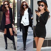 Scolour Fashion Women Irregular Hem Zipper Top Long Sleeve Shirt Casual Blouse