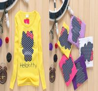 wholesale 2~7years 9pcs/lot new 2015 spring  Autumn children clothing tshirts fashion girls cartoon cat cotton gir's t-shirt