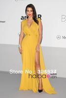 New Kim Kardashian New Fashion Yellow V-Neck Split Sash Chiffon Celebrity Dresses Evening Gowns
