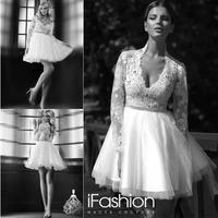 Fashionable Hot Sale Wholesale A Line V Neck Mini Wedding Dress Tulle Bottom Wedding Dress Short With Beadings SG030
