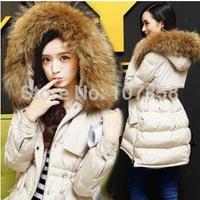 2014 New Brand Down & Parkas European style Fashion Oversized fur collar Ladies Slim Women Winter thick Jacket Women Warm Coat