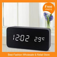 Free Shipping 10/lots 2014 Hot Sale Creative Alarm Clock   Voice Digital Electronic Clock   LED Wooden Clock