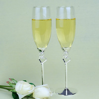 China post air mail free shipping Wedding Toasting Flutes -  Silver Metal Base Soulmate