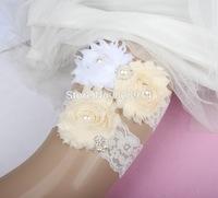 New Design Lace Trim White and Cream Color Shabby Flower Wedding Garter for Bridal Garter made of Purple Shabby Flower Handmade