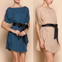 Women Ruffled Two-way Chiffon Dress with Belt #CL-313
