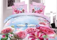 Quilt cover sets100%cotton 3d bedding sets/pink comforter set bedspread egyptian oil painting/bed set/duvet cover set bed linen/