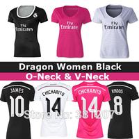 2015 Real Madrid Women PINK Soccer Jersey 14 15 KROOS RONALDO BALE JAMES Real Madrid Women Black Female football shirts 2015