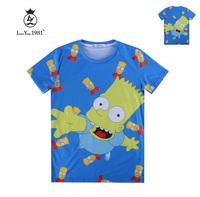 [Magic] Hot cartoon Simpson printed tee good quality o neck short sleeeve casual tshirt women 3d t shirt LY247 free shipping