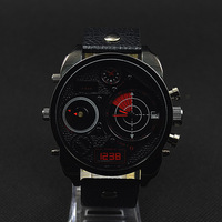 Men watches top brand luxury leather oversized dual time zone fashion sport watches for men  DZ cheap watch 7296 7297