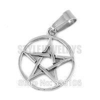 Free shipping! Five Star Shield Pendant Stainless Steel Jewelry Fashion Biker Circle Star Pendant Punk Style SWP0298SA