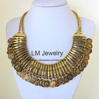 2014 tattoo choker collar chunky vintage turkish coin bib fashion boho jewelry for women statement Necklaces & pendants LM-SC976