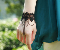 LH020 free shipping Retail  women New Romantic Gothic black lace hand chain bracelet Bride Jewelry  gift