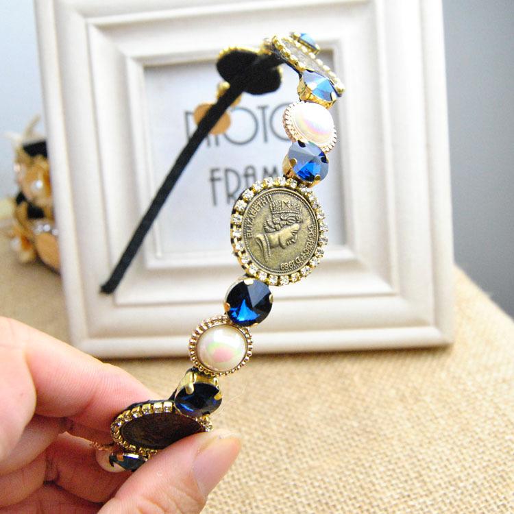 Europen woman's fashion full crystal hair bands blue gem stone luxury temperament wild head coins pearl metal hair bands(China (Mainland))
